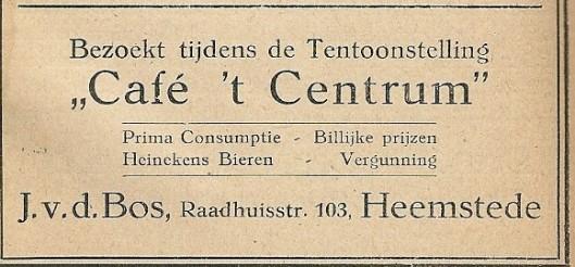 Advertentie van café 't Centrum uit Catalogus FLORA 1925