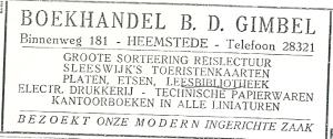 Advertentie boekhandel Gimbel uit 1925