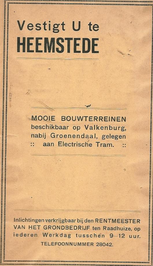 Groenendaal als reclamemiddel om zich in Heemstede te vestigen (1925)