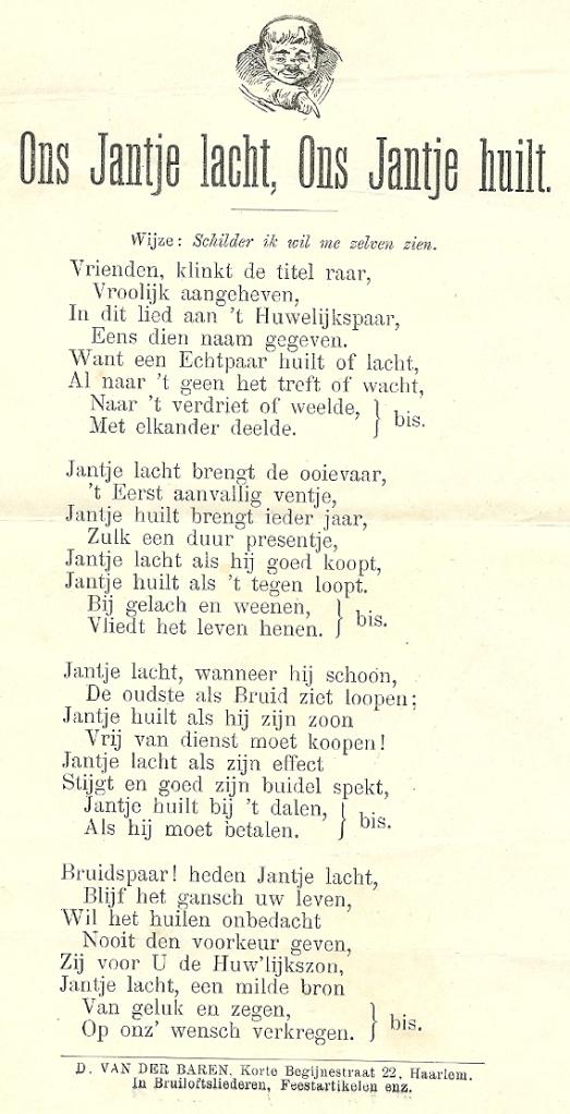 Bruiloftslied. Een uitgave van: D.van der Baren, Korte Begijnestraat 22, Haarlem.