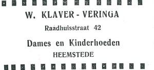 Advertentie uit 1927 van hoedenwinkel W.Klaver-Veringa