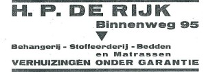 Advertentie H.P.de Rijk, behangerij etc. (1930)