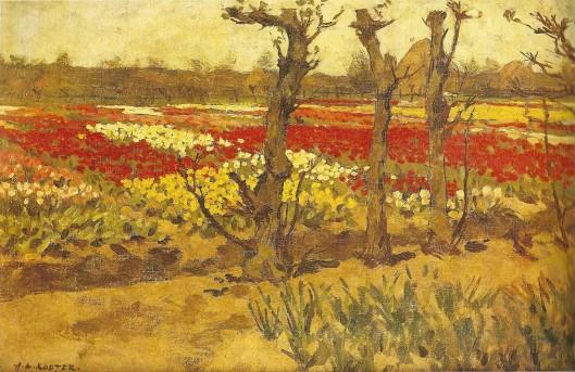 Olieverfschilderij van bollenveldem bij Bennebroekl door Anton L. Koster (1859-1931)