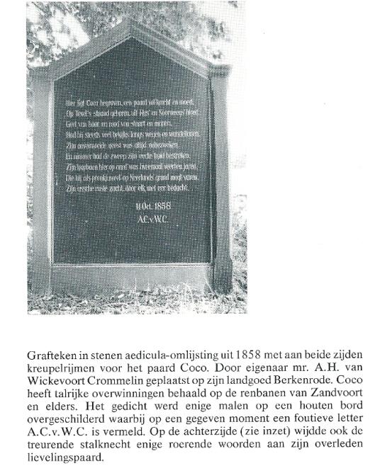 Grafmonument voor renpaard Coco geplaatst door A.H.van Wickevoort Crommelin op landgoed Berkenrode