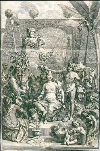 Allegorie op het kweken van exotische gewassen op de hartekamp. Titelprent van Linnaeus' 'Hortus Cliffortianus' door Jan Wandelaar, 1738