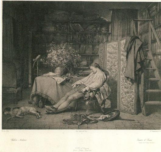 Geromatiseerde 19e eeuwse voorstelling van een rustende jonge Linnaeus. Litho door Emile Desmaisons uit circa 1860-1870.