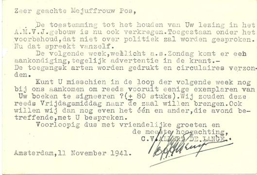 Briefkaart van Allert de Lange aan Mary Pos, 11 november 1941.