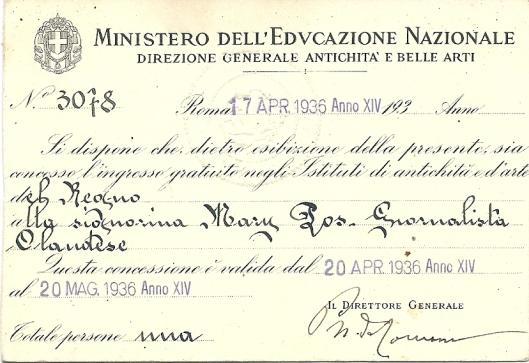 Perskaart voor Mary Pos van het Italiaanse ministerie van onderwijs uit 1936