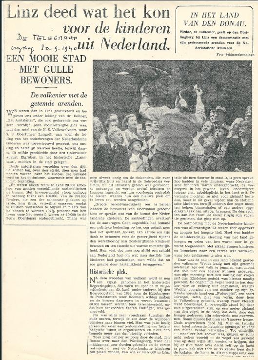 Artikel van Mary Pos uit De Telegraaf van 20 september 1940. Met nog enkele bijdragen kreeg Mary Pos na de Bevrijding problemen n.a.v. publicaties in het Parool