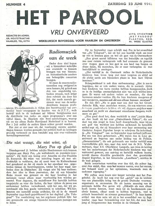 Artikel in Het Parool van 23 juni 1945