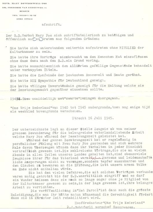 Een verdediging in de Duitse taal van Mary Pos en van D.J.Schiferli