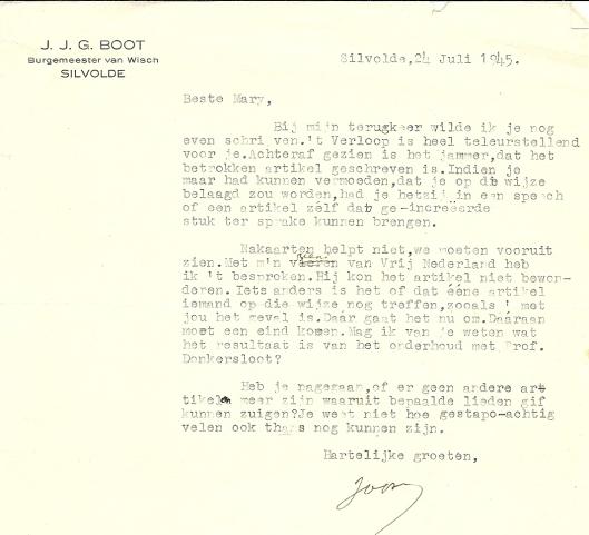 Een voor Mary Pos bemoedigend schrijven van J.J.G. Boot, in 1945 burgemeester van Wisch en van 1951 tot 1968 burgemeester van Hilversum. In 1967 publiceerde hij het boek 'Burgemeester in oorlogstijd' met dagboekaantekeningen.
