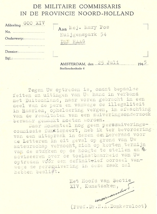 Schrijven van prof. N.A.Donkersloot [letterkundige Anthonie Donker] aan Mary Pos waarin een zuiveringsonderzoek wordt aangekondigd.