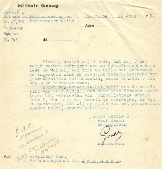 Schrijven van het Militair Gezag aan Mary Pos van 26 juli 1945.