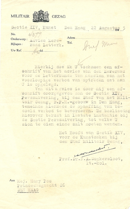 Schrijven van prof.N.A.Donkersloot aan Mary Pos waarin opheffing van schrijfverbod wordt bepleit, waarover de Sectie Perszuivering zal besluiten