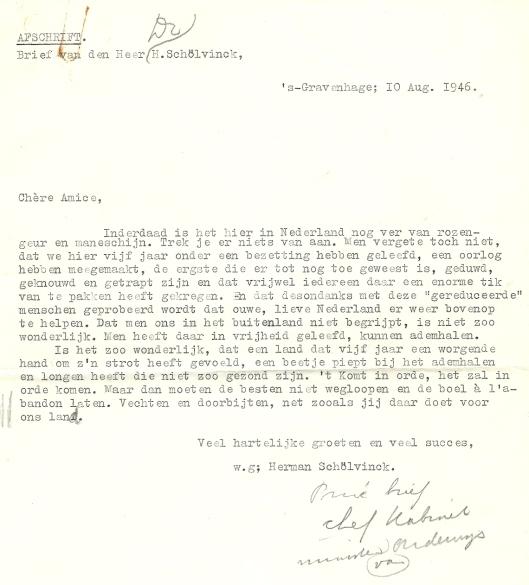 Schrijven van mr.H.J.Schölvinck (1904-1986) die een hoge functie vervulde bij het Ministerie van Onderwijs en het opnam voor Mary Pos.