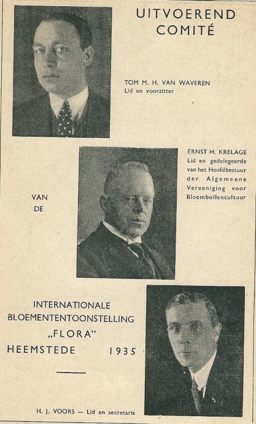 De leden van het uitvoerend comité Flora 1935: Tom M.H.van Waveren, Ernst H.Krelage en H.J.Voors. De heer Voors fungeerde tevens als tuinarchitect van deze Flora in Groenendaal.