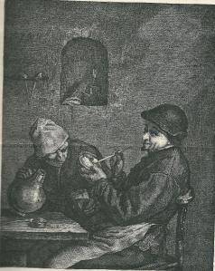Rokers in een herberg in de Hout naar een tekening van Adriaen van Ostade
