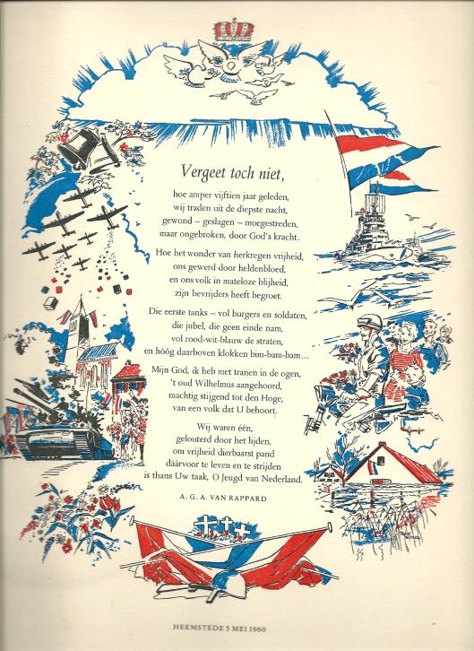 Vergeet toch niet', door burgemeester A.G.A.van Rappard geschreven gedicht en op 5 mei 1960 door de gemeente Heemstede uitgegeven als rijmprent met illustraties van Rein de Jonge.