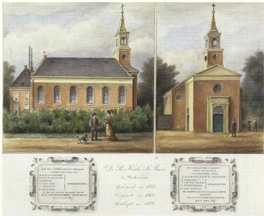 De eerste r.k. Bavokerk van Berkenrode, gebouwd in 1817, vergroot in 1837 en gesloopt in 1880 na bouw van de huidige kerk aan de andere zijde van de Herenweg