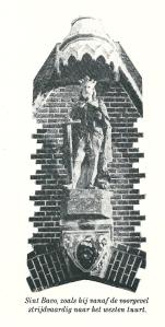 St. Bavo aan de gevel van de Bavokerk in Heemstede