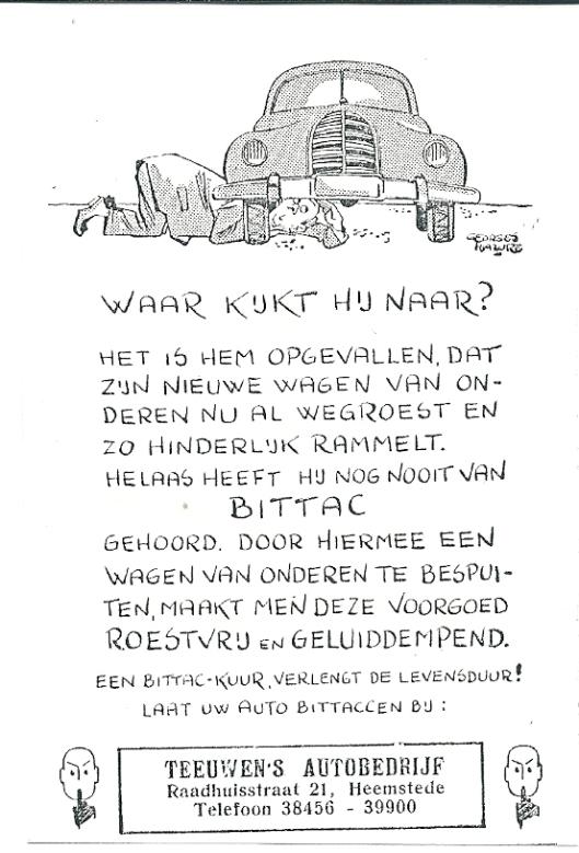 Advertentie van Teeuwen's Autobedrijf uit het Nieuwsblad de Haarlemmer van 11 april 1952
