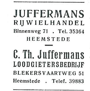 Adv. rijwielhandel Juffermans, Binnenweg 71, uit 1952