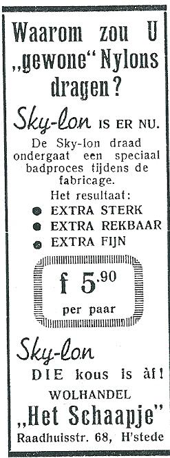 Advertentie van wolhandel 'Het Schaapje' uit april 1952