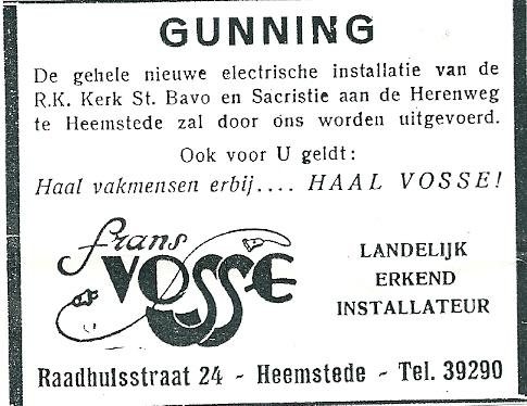Advertentie Frans Vosse uit het Nieuwsblad van 1953