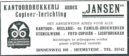 Adv. kantoordrukkerij/copieer-inrichting Jansen, Binnenweg 106