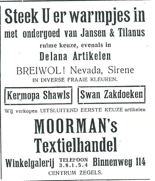 Advertentie van Moorman's Textielhandel, Binnenweg 114
