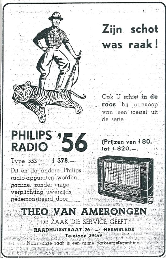 Adverntentie Radiozaak Theo van Amerongen uit 1953