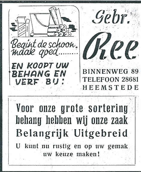 Advertentie Gebr. Ree uit 1952