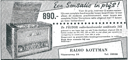 Advertentie Radiozaak Kottman, Binnenweg 24