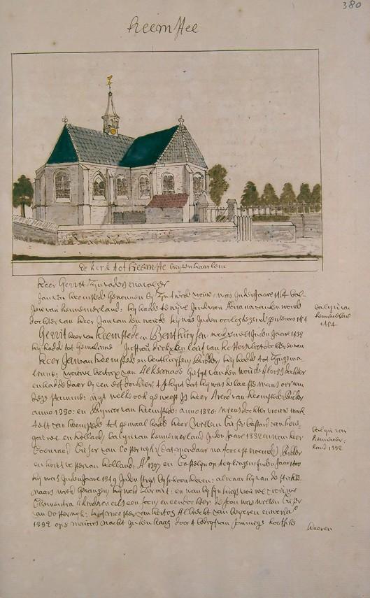 Kerk in Heemstede. Uit: atlas Andries Schoemaker (1660-1735) in Koninklijke Bibliotheek Den Haag