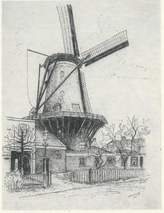 Korenmolen de Nachtegaal aan de Glip. Tekening in Oostindische inkt van J.Schotman, 1926 (NHA).
