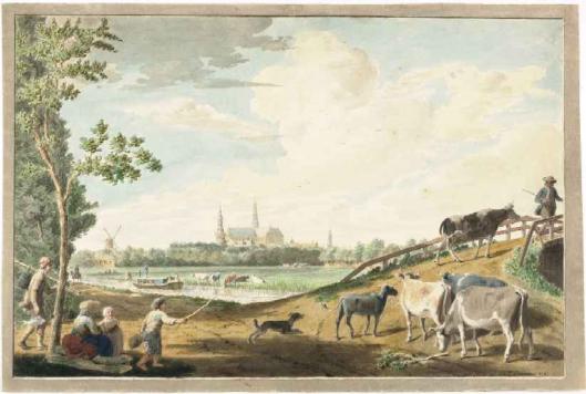 Aquarel van Leidsevaart nabij Schouwtjeslaan (Noord-Hollands Archief)