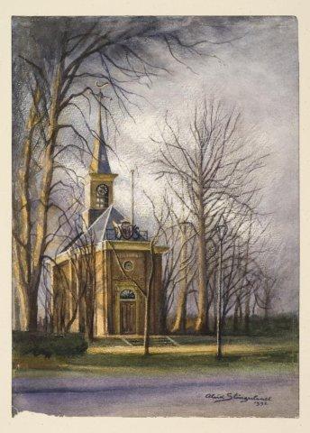Aquarel door Aleid Slingerland van de Ned. Hervormde Kerk in Bennebroek. 1992 (NHA)