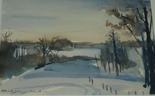 Landschap omgeving Bloemendaal. Aquarel uit 1971 door Aleid Slingerland