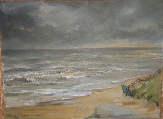 Aleid Slingerland: olieverfschilderij van een ruige dag aan het Bloemendaalse strand.