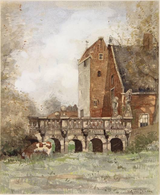 Aquarel van Vredesbrug/poortgebouw Oude Slot door W.G.F.Jansen (1871-1949).