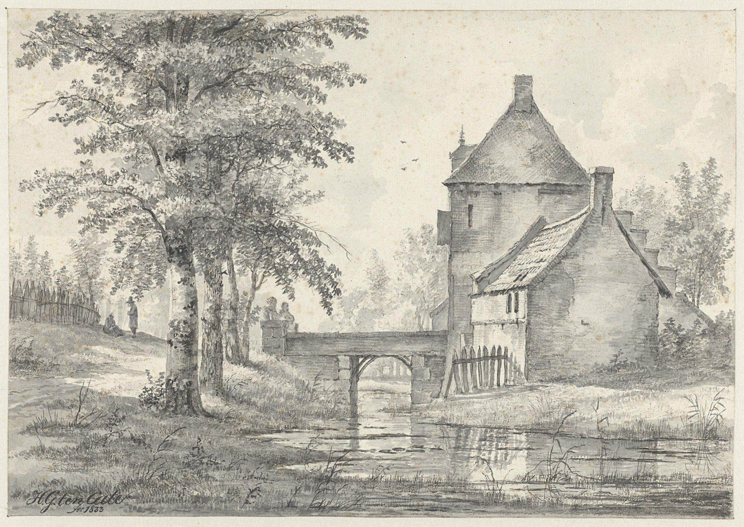 Tekening van Poort naar het Slot te Heemstede; door Hendrik Gerrit ten Cate, 1834 (Rijksmuseum Amsterdam)