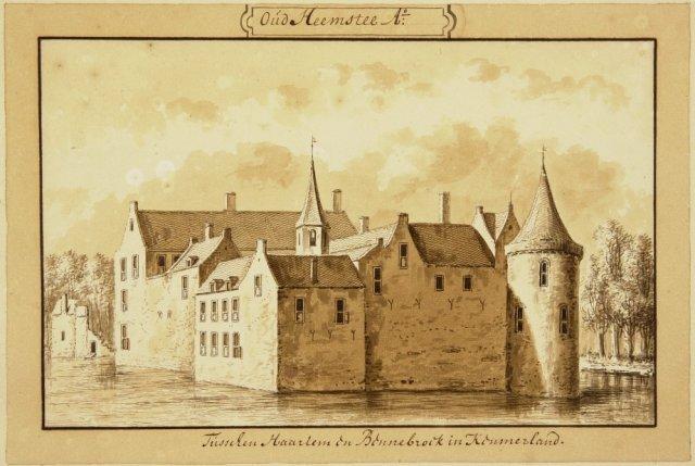 Het Huis te Heemstede. Zuidwestzijde. Tekening door Abraham Rademaker, circa 1720 (NHA)