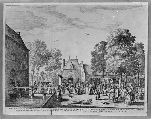 Beleefdheidsbezoek van de Engelse koningin Henriette Maria aan Adriaan pauw op het voorterrein van het Oude Slot in 1642. Gravure door Cornelis Visscher