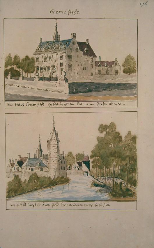 Slot Heemstede. Uit Atlas Schoemaker (1810-1835) (Kon. Oudh. Genootschap)