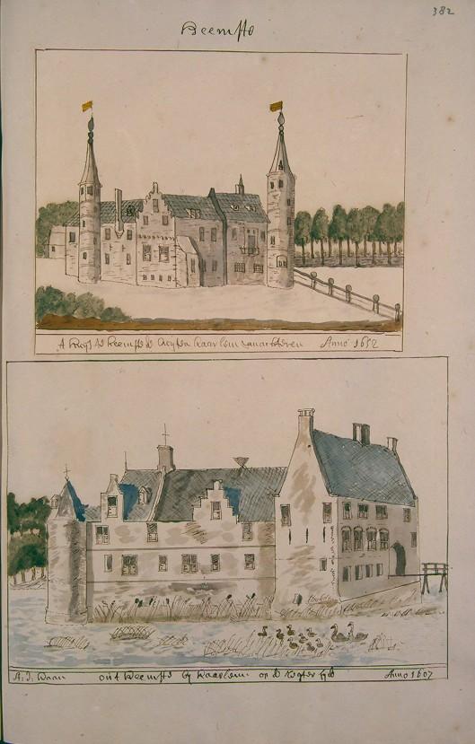 Slot Heemstede. Uit: Atlas Schoemaker, 1810-1835 (Kon. Oudh. Genootschap)
