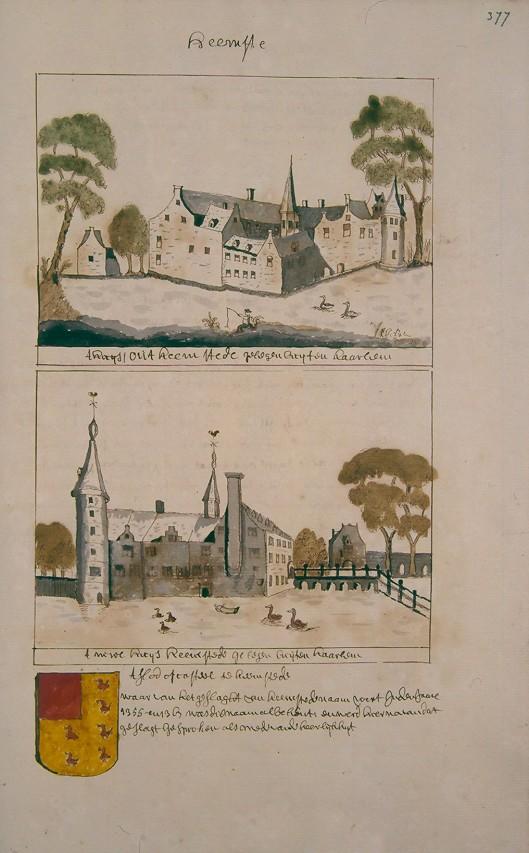 Slot Heemstede. Uit: Atlas Schoemaker (Kon. Oudheidk. Genootschap)