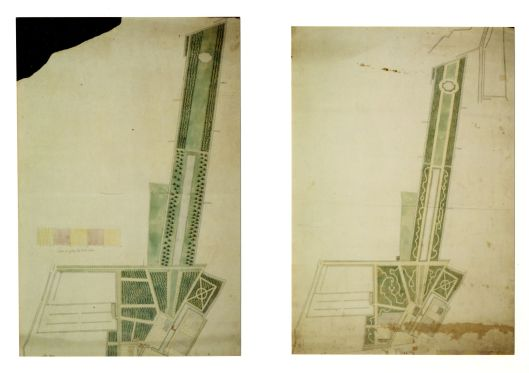 Kaarten van tuin Huis te Bennebroek', allebei in 1761 vercvaardigd door landmeter-kaartenmaken A.Snoek. Links met geomerische tuin en rechts met slingerpaden in landschapsstijl (Noord-Hollands Archief)