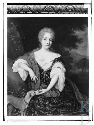Opmerkelijk is dat Jan van Haensbergen in 1687 nog een tweede portretschilderij vervaardigde van van Adriana Constantia Sohier de Vermandois, nu afgebeeld met een hond (foto RKD-Den Haag)