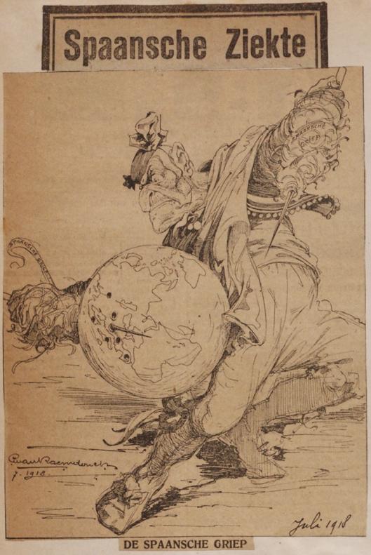 In Heemstede vervaardigde cartoontekening op de Spaanse griep door George van Raemdonck, juli 1918